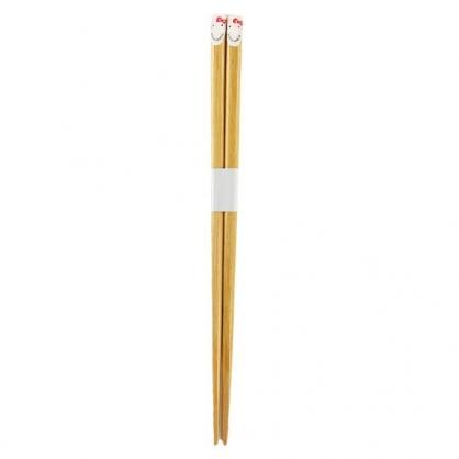 小禮堂 Hello Kitty 木筷 竹筷 環保筷 21cm 銅板小物 (白棕 大臉)
