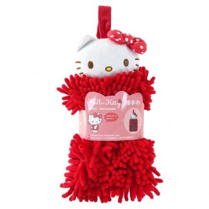 小禮堂 Hello Kitty 可掛式造型擦手巾 吸水毛巾 擦手毛巾 超細纖維 (紅 大臉)