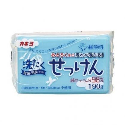 小禮堂 KANEYO 日製 植物性衣物肥皂 去汙皂 洗衣皂 純皂 家事皂 190g (藍)
