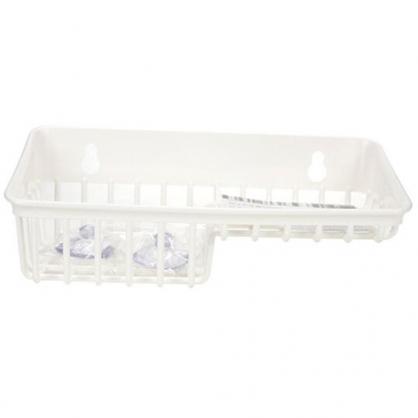 小禮堂 INOMATA 日製 吸盤式雙格菜瓜布架 瀝水收納架 肥皂架 置物架 (白)