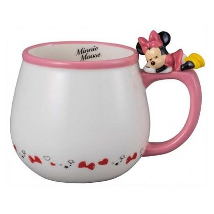 小禮堂 迪士尼 米妮 造型陶瓷馬克杯 咖啡杯 茶杯 陶瓷杯 340ml (粉白 杯邊玩偶)