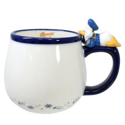 小禮堂 迪士尼 唐老鴨 造型陶瓷馬克杯 咖啡杯 茶杯 陶瓷杯 340ml (藍白 杯邊玩偶)