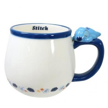 小禮堂 迪士尼 史迪奇 造型陶瓷馬克杯 咖啡杯 茶杯 陶瓷杯 340ml (藍白 杯邊玩偶)