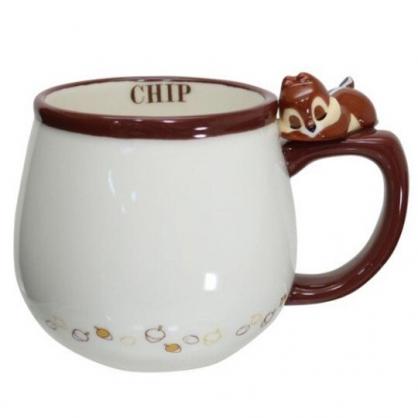 小禮堂 迪士尼 奇奇蒂蒂 造型陶瓷馬克杯 咖啡杯 茶杯 陶瓷杯 340ml (棕白 杯邊玩偶)