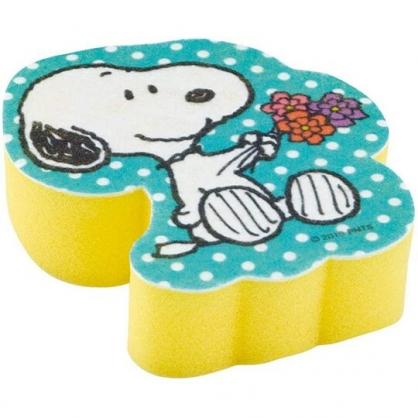 小禮堂 史努比 造型清潔海綿 鍋刷 菜瓜布 洗碗刷 (藍黃 花束)