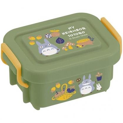 小禮堂 龍貓 迷你方形雙扣保鮮盒 微波便當盒 塑膠便當盒 140ml (深綠 磨菇)