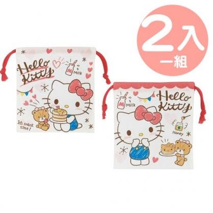 小禮堂 Hello Kitty 日製 棉質束口袋組 旅行收納袋 小物袋 縮口袋 (2入 紅白 鬆餅)