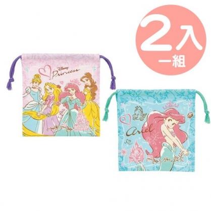 小禮堂 迪士尼 公主 日製 棉質束口袋組 旅行收納袋 小物袋 縮口袋 (2入 粉綠 禮服)