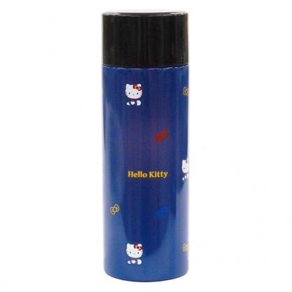 小禮堂 Hello Kitty 旋轉蓋不鏽鋼保溫瓶 兒童水壺 隨身瓶 超輕量不鏽鋼 350ml (深藍 側坐)