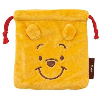 小禮堂 迪士尼 小熊維尼 絨毛束口袋 旅行收納袋 小物袋 縮口袋 (黃 大臉)