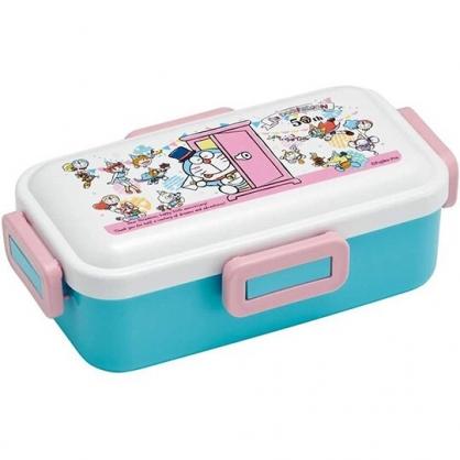 小禮堂 哆啦A夢 日製 方形四扣微波便當盒 塑膠便當盒 保鮮盒 530ml (粉藍 50週年)