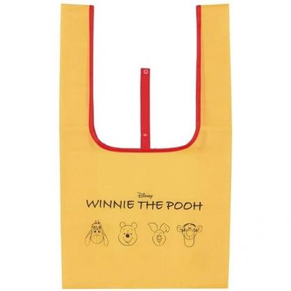 小禮堂 迪士尼 小熊維尼 折疊尼龍環保購物袋 環保袋 側背袋 手提袋 (黃 大臉)