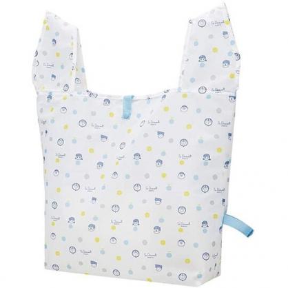 小禮堂 哆啦A夢 折疊尼龍環保購物袋 環保袋 側背袋 手提袋 (白 點點)