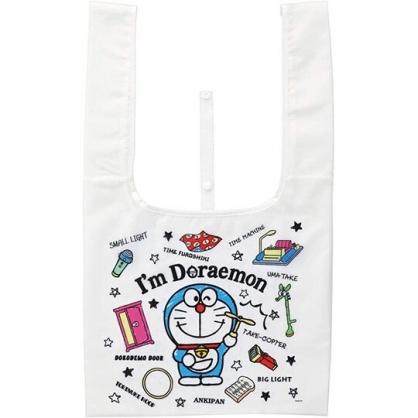 小禮堂 哆啦A夢 折疊尼龍環保購物袋 環保袋 側背袋 手提袋 (白 站姿)