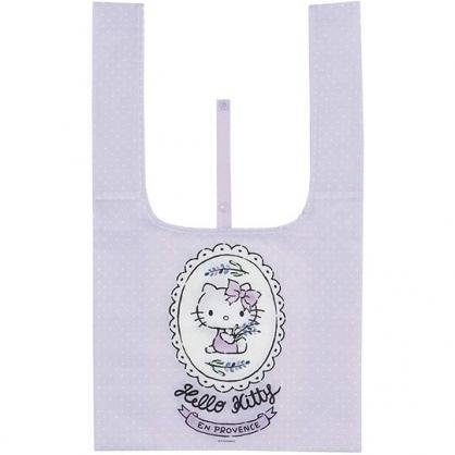 小禮堂 Hello Kitty 折疊尼龍環保購物袋 環保袋 側背袋 手提袋 (紫白 圓框)