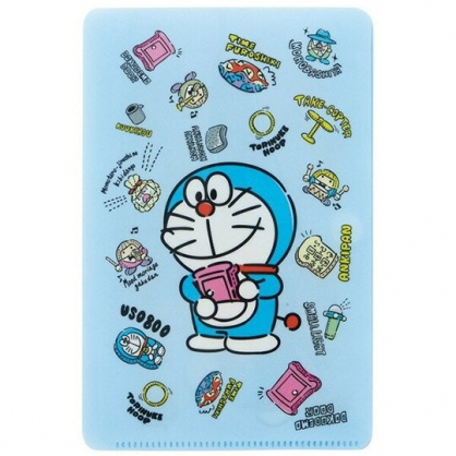 小禮堂 哆啦A夢 兒童扣式口罩夾 面紙包 口罩包 口罩套 口罩收納 (藍 站姿)