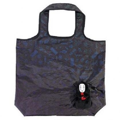 小禮堂 神隱少女 無臉男 折疊尼龍環保購物袋 環保袋 側背袋 手提袋 (黑)