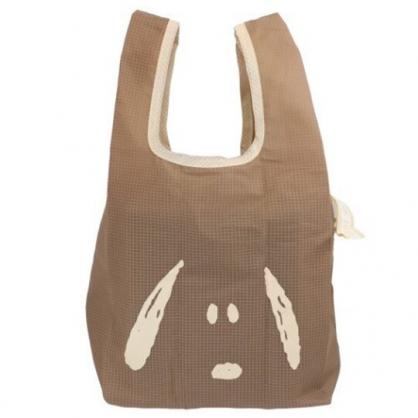 小禮堂 史努比 折疊尼龍環保購物袋 環保袋 側背袋 手提袋 (棕 大臉)