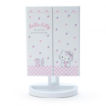 小禮堂 Hello Kitty 桌上型LED三面化妝鏡 補光燈化妝鏡 三折化妝鏡 三面鏡 (白)