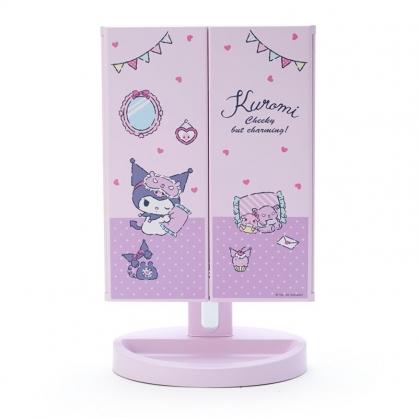 小禮堂 酷洛米 桌上型LED三面化妝鏡 補光燈化妝鏡 三折化妝鏡 三面鏡 (紫)
