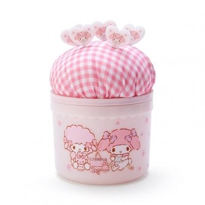 小禮堂 美樂蒂 圓形拿蓋針墊收納盒 附針 縫紉收納盒 飾品盒 小物盒 (粉)