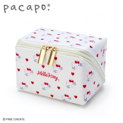 小禮堂 Hello Kitty 全開式方形尼龍化妝包 防水化妝包 小物包 盥洗包 (白)