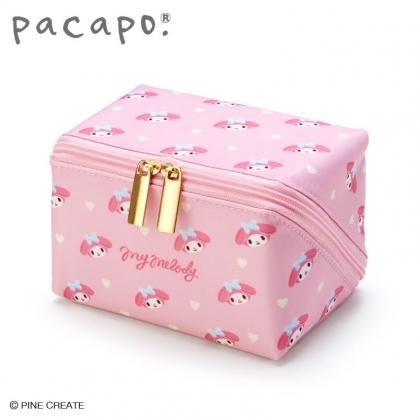 小禮堂 美樂蒂 全開式方形尼龍化妝包 防水化妝包 小物包 盥洗包 (粉)