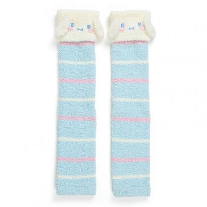 小禮堂 大耳狗 造型絨毛長襪套 小腿襪套 過膝襪套 保暖襪套 (藍 大臉)