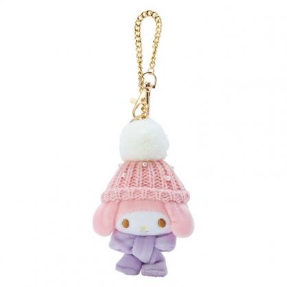 小禮堂 美樂蒂 絨毛吊飾 玩偶吊飾 玩偶鑰匙圈 包包吊飾 (粉紫 毛帽)