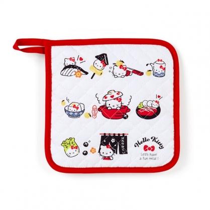 小禮堂 Hello Kitty 方形厚棉隔熱墊 防燙鍋墊 防滑墊 桌墊 餐墊 (紅白 陶器餐廚)