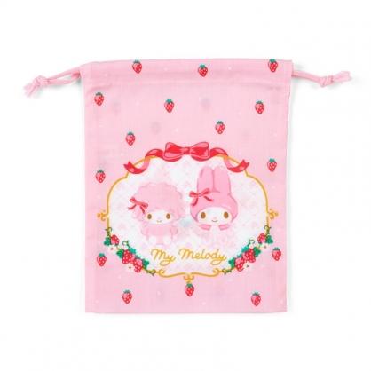 小禮堂 美樂蒂 日製 棉質束口袋 牙刷杯袋 小物袋 縮口袋 16x19cm (粉紅 草莓)