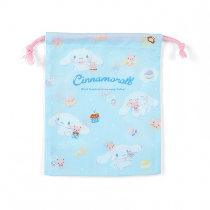 小禮堂 大耳狗 日製 棉質束口袋 牙刷杯袋 小物袋 縮口袋 16x19cm (藍粉 甜點)