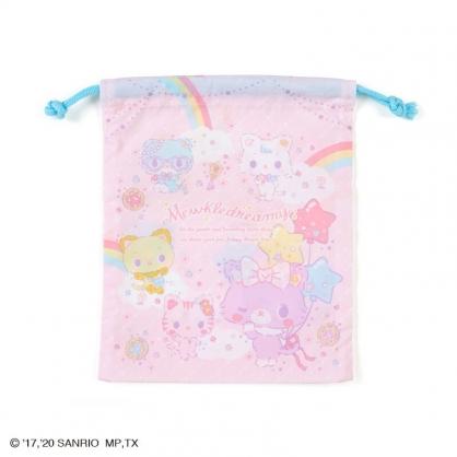 小禮堂 甜夢貓 日製 棉質束口袋 牙刷杯袋 小物袋 縮口袋 16x19cm (粉藍 彩虹)