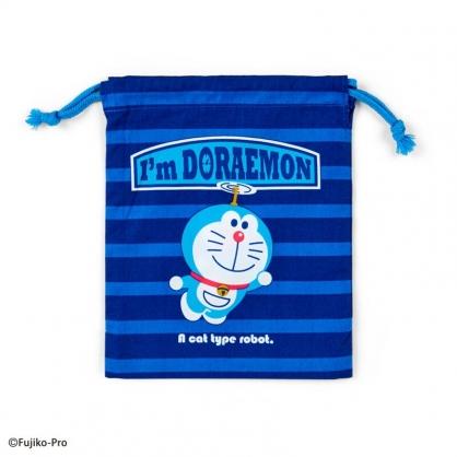 小禮堂 哆啦A夢 日製 棉質束口袋 牙刷杯袋 小物袋 縮口袋 16x19cm (深藍 竹蜻蜓)