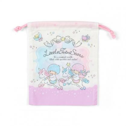 小禮堂 雙子星 日製 棉質束口袋 牙刷杯袋 小物袋 縮口袋 16x19cm (紫白 獨角獸)