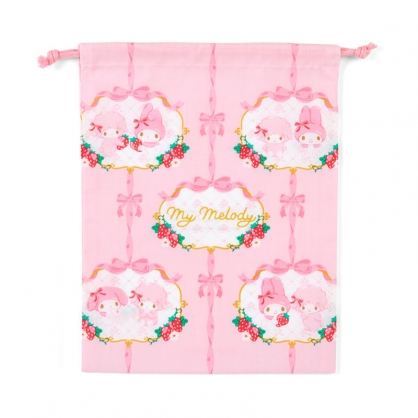 小禮堂 美樂蒂 日製 棉質束口袋 文具袋 小物袋 縮口袋 20x27cm (紅粉 草莓)