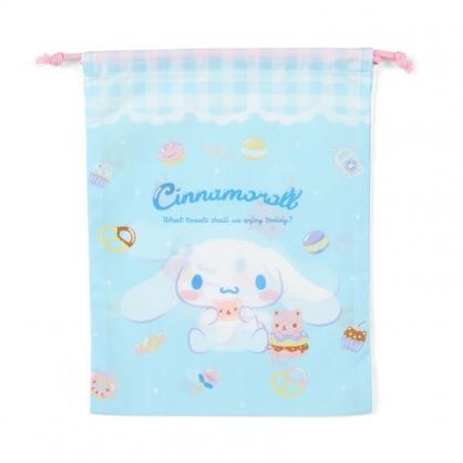 小禮堂 大耳狗 日製 棉質束口袋 文具袋 小物袋 縮口袋 20x27cm (藍粉 甜點)