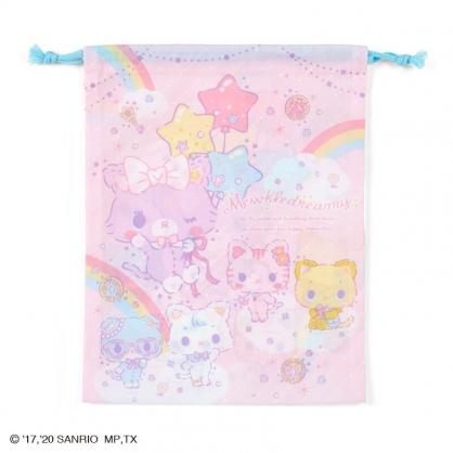小禮堂 甜夢貓 日製 棉質束口袋 文具袋 小物袋 縮口袋 20x27cm (粉藍 彩虹)