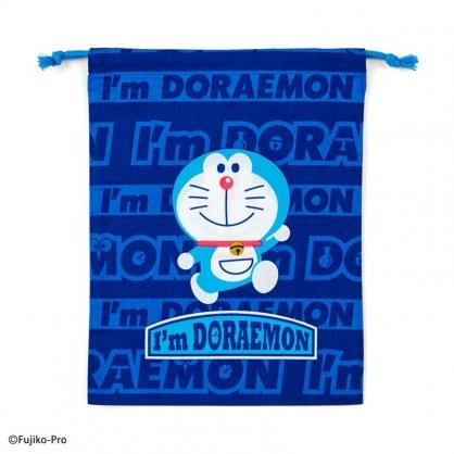小禮堂 哆啦A夢 日製 棉質束口袋 文具袋 小物袋 縮口袋 20x27cm (深藍 竹蜻蜓)