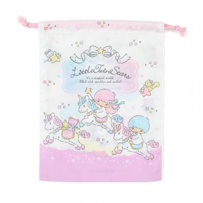 小禮堂 雙子星 日製 棉質束口袋 文具袋 小物袋 縮口袋 20x27cm (紫白 獨角獸)