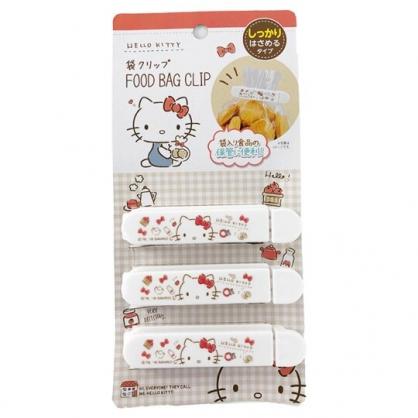 小禮堂 Hello Kitty 塑膠封口夾 餅乾袋夾 密封夾 保鮮夾 銅板小物 (3入 白 餅乾)