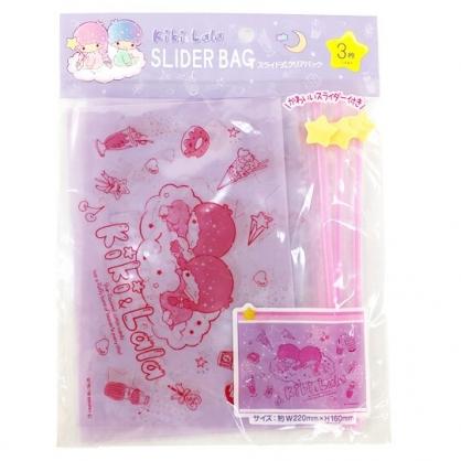 小禮堂 雙子星 方形透明夾鏈袋組 糖果袋 文具袋 分裝袋 銅板小物 (3入 紫 星星)