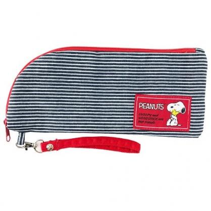 小禮堂 史努比 帆布吸水速乾折傘套 雨傘收納袋 傘袋 水壺袋 (灰紅 橫紋)