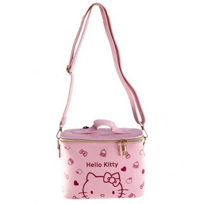 小禮堂 Hello Kitty 皮質圓筒斜背包 皮質手提包 手提化妝包 水桶包 (粉壓紋)