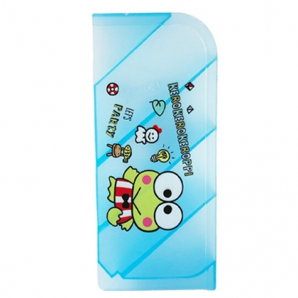 小禮堂 大眼蛙 塑膠直式四層斜口收納盒 筆筒 刷具筒 桌上型收納盒 (藍 物品)