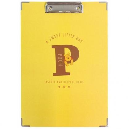 小禮堂 迪士尼 小熊維尼 A4木質文件夾板 A4板夾 資料板夾 菜單夾 (黃棕 P)