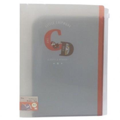 小禮堂 迪士尼 奇奇蒂蒂 A4雙開式文件夾 資料夾 檔案夾 L夾 附夾鏈袋 (灰橘 CD)