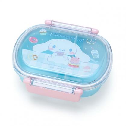 小禮堂 大耳狗 日製 透明蓋微波便當盒 雙扣便當盒 塑膠便當盒 保鮮盒 360ml (藍 甜點)