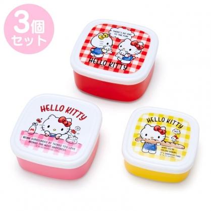小禮堂 Hello Kitty 日製 方形微波保鮮盒組 密封保鮮盒 塑膠保鮮盒 便當盒 (3入 紅 格紋)