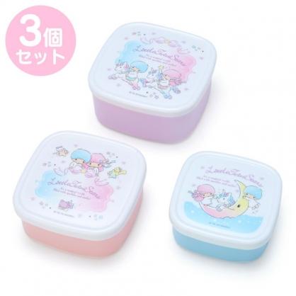 小禮堂 雙子星 日製 方形微波保鮮盒組 密封保鮮盒 塑膠保鮮盒 便當盒 (3入 紫 獨角獸)